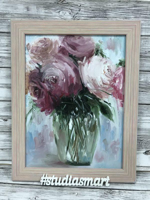 букет роз пудровые картина маслом купить москва интерьер подарок арт русское современное