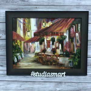 картина маслом интерьер искусство живопись современное купить продать москва подарок ресторан париж улочка