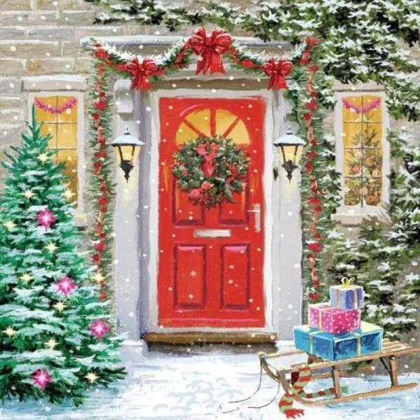"""Мастер-класс масло """"Дверь в Рождество"""""""