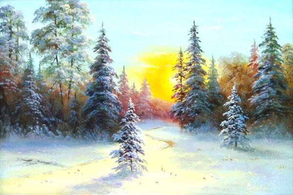 "Мастер-класс масло ""Рассвет над зимним лесом"" на Парке Культуры"