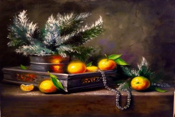 """Мастер-класс масло """"Рождественский натюрморт с мандаринами"""" на Парке Культуры"""