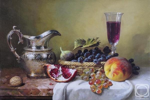 """Мастер-класс масло """"Королевский натюрморт с кувшином и фруктами"""""""