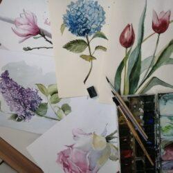 Курс «Акварель цветы»