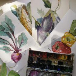 Курс «Акварель овощи»