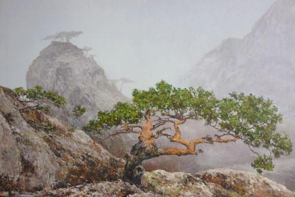 """Мастер-класс масло """"Дерево на горе в тумане"""""""