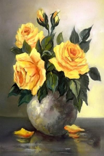 """Мастер-класс масло """"желтые розы"""""""