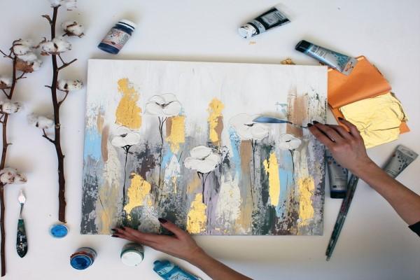 Мастер-класс Интерьерная картина ( фактурная паста/золотая поталь/ акрил)